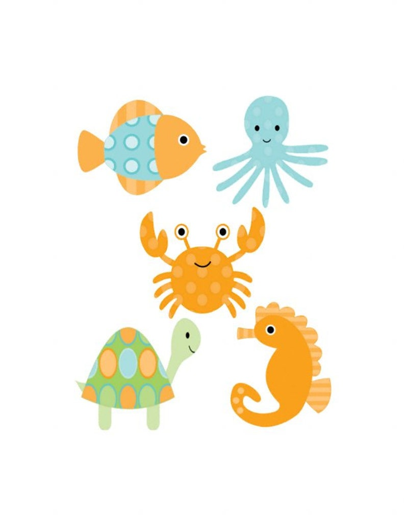 Blue Green Set of 5 Iron On Heat Transfers...Deep Blue Sea Animal  Appliques for  Baby Boy Shower