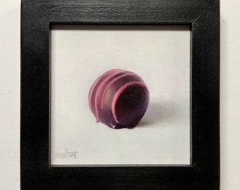 Raspberry Truffle framed oil painting of chocolate sweet by Brian Burt