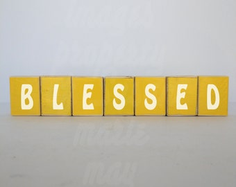 Blessed sign Wooden blocks Hand cut, painted, and sanded | Any color, Any word, Can be personalized and customized