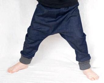 Toddler boy harem pants, organic denim pants, boys harem trousers, kids jeans, organic kids pants, boy denim pants, toddler clothing