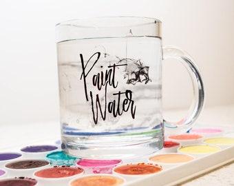 Paint Water Mug, Glass Paint Brush Rinse Cup, Painters Mug, Artist Hobby Mug, Paint Brush Water Rinse Cup, Gift Under 20, Fine Artist Cup
