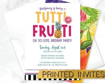 Tutti Frutti Birthday Invitation, Tutti Frutti Kids Party Invite, Tropical Birthday Party, Pineapple Party Invite, Fruit Party Invitation