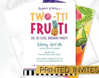 Two-tti Frutti Kids Party Invite, Tutti Frutti Birthday Invitation, Tropical Birthday Party, Pineapple Party Invite, Fruit Party Invitation