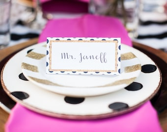 INSTANT DOWNLOAD Black and White Polka Dots with Gold Glitter Escort Cards / Place Cards