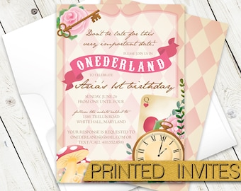 Onederland First Birthday Party Invitation - Alice in Wonderland Invite - Down the Rabbit Hole - One Year Old