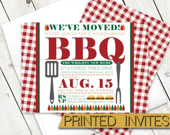 Housewarming BBQ Cook Out Invitation - Barbecue Party Party Invite - Backyard Party - We've Moved Grilling Out Invite
