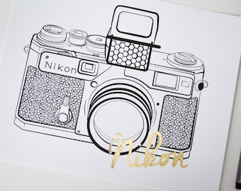 Nikon SP Camera Gold Foil Home and Office Print