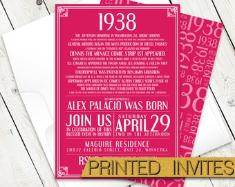 In History - Eightieth Bday Invite - 80th Birthday Party Invitation - Historic Events - Moments in Time - In This Year - 1938