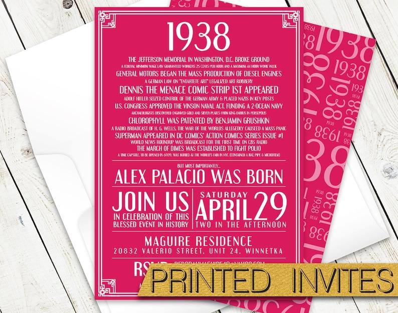 Back In 1938 Birthday Party Invitation 80th Invite