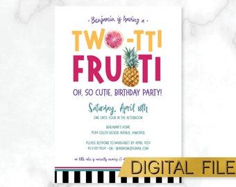 PRINTABLE  Two-tti Frutti Birthday Invitation, Tutti Frutti Kids Party Invite, Pineapple Party Invite, Tropical Birthday Party, Fruit Party