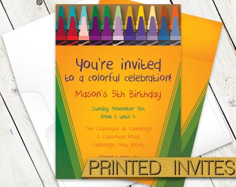Crayon Box B-day Invite - Colorful Crayon Kids Birthday Party Invitation - Artistic Child Bday Party Invite