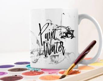 Artist White Ceramic Paint Water Mug - Graphic Designer Gift - Fine Artist Water Cup - Painters Rinse Water Glass