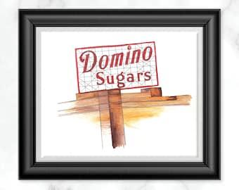 Domino Sugars Watercolor Print, Baltimore Landmark Illustration, Baltimore City Wall Decor, Inner Harbor Lights Watercolor, Gifts Under 20