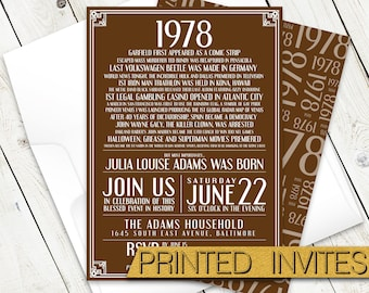 In History - Fortieth Bday Invite - 40th Birthday Party Invitation - Historic Events - Moments in Time - In This Year - 1978