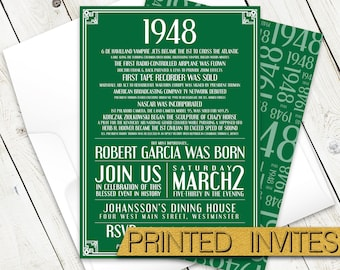 In History - Seventieth Bday Invite - 70th Birthday Party Invitation - Historic Events - Moments in Time - In This Year - 1948