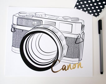 Canon 7 Camera Gold Foil Home and Office Print