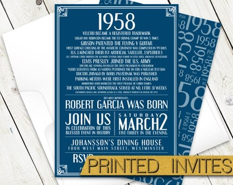 In History - Sixtieth Bday Invite - 60th Birthday Party Invitation - Historic Events - Moments in Time - In This Year - 1958
