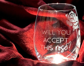 Will You Accept This Rose Etched Bachelor Nation Stemless Wine Glass, Bachelorette Rosé Glass, Bachelor Themed Gift, Girls Night Wine Glass