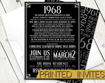 In History - Fiftieth Bday Invite - 50th Birthday Party Invitation - Historic Events - Moments in Time - In This Year - 1968