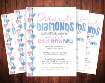 PRINTABLE Gender Reveal Party Invitation - Diamonds or Diamonds Invite - Baseball or Jewels - What's the sex party