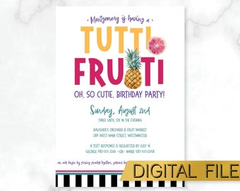 PRINTABLE Tutti Frutti Kids Party Invite, Tutti Frutti Birthday Invitation, Pineapple Party Invite, Tropical Birthday Party, Fruit Party