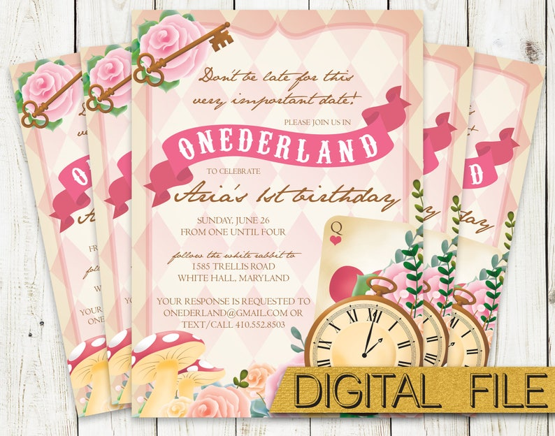 PRINTABLE Onderland First Birthday Party Invitation Alice In