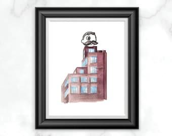 Natty Boh Tower Watercolor Print, Baltimore Landmark Illustration, Land of Pleasant Living Print, Baltimore City Wall Decor, Gifts Under 20