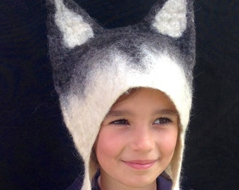 Wolf Hat with Husky Dog Ears, handmade grey, black and white wool felted Winter cosplay animal hat