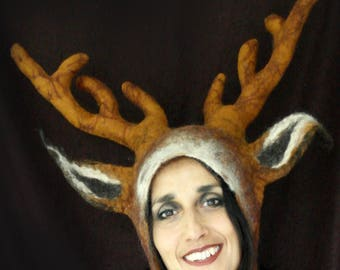 Medium Antler Stag Hat, hand felted deer animal costume for larping, cosplay pagan festivals