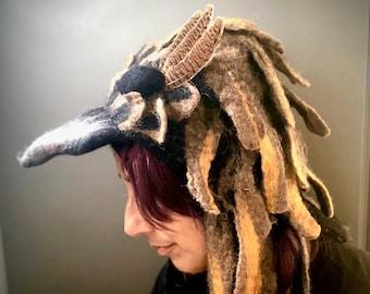 Golden Eagle felted Bird Hat