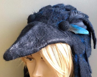 Black Blue Raven Bird Headdress