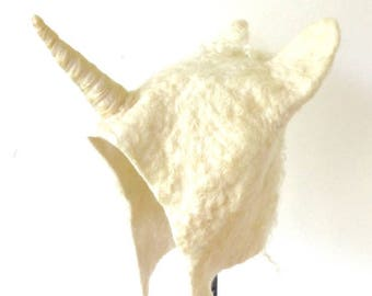 Fantasy Unicorn headdress handmade white wool felted cosplay costume hat festival fairy hat with a little horn for adults and kids