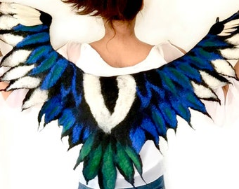 Magpie Wings Costume Collar felted feather cape in pure natural merino wool  for pagan spirit animal cosplay in black blue and white