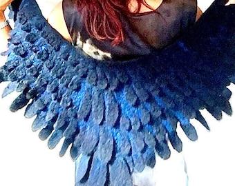 Black Blue Raven Wings Cape