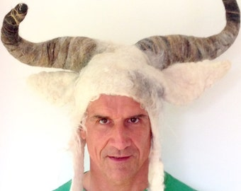 Bull horns pagan Taurus animal costume headdress white handmade wool felted hat with posable horns for Burning Man festival theatre