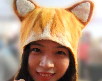Ginger Cat Animal Hat, fancy dress cat costume hand felted larping cosplay headwear