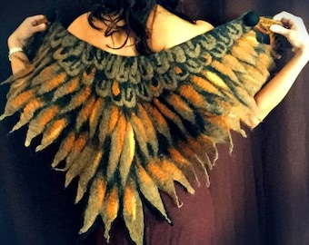 Golden Eagle Wings felted Cape