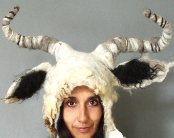 Capricorn Goat horned Animal beast headdress costume hand felted from natural Shetland Wool fleece with posable horns