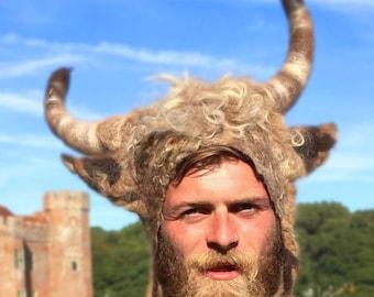 Highland Bull Horns felted Headdress