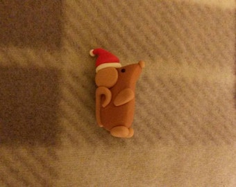 cute little Christmas rat brooch - made from polymer clay (Fimo)