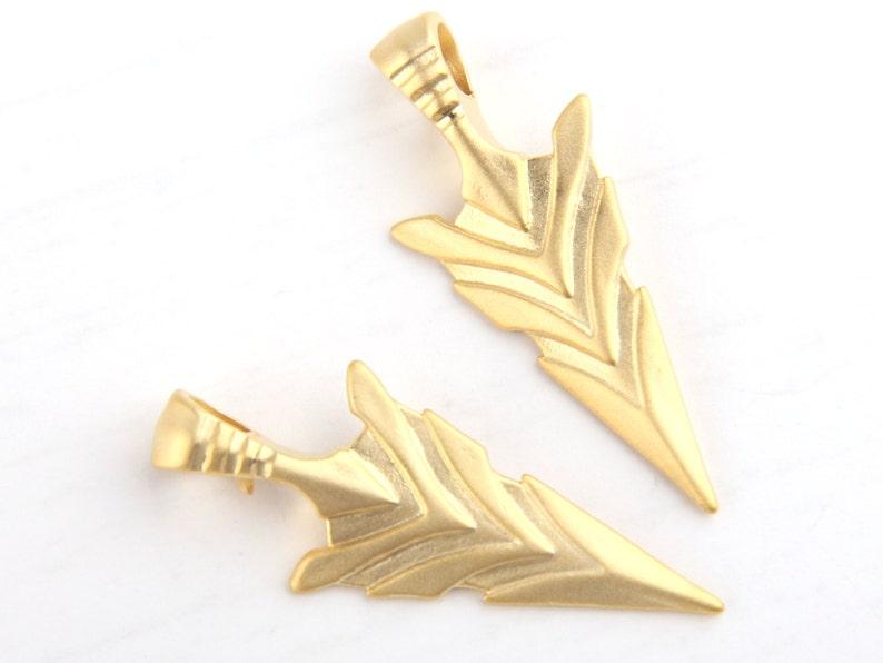 Matte Gold Arrow Pendants Tribal Arrow Pendant Spear Head Pendants 2 pcs  GP-439