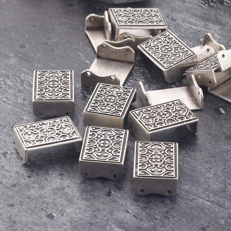 Silver Rectangle Filigree Link Filigree Bracelet Link 1 piece  SC-272 Embossed Connector