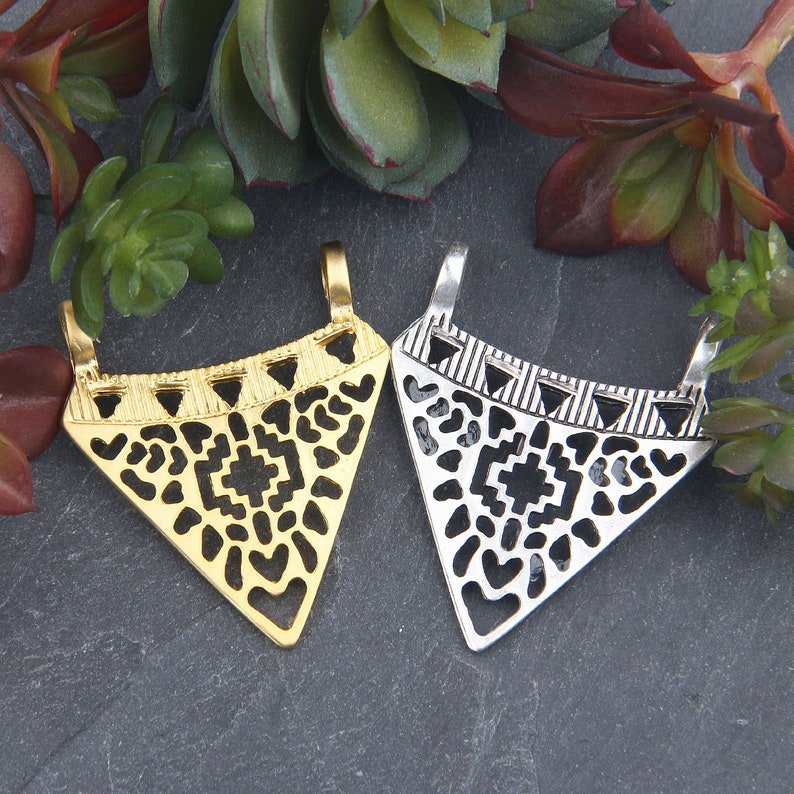 Tribal Triangle Pendant Jewelry Supplies 39x46mm  SP-414 1 Silver Fretwork Tribal Cut-out Pattern Pendant