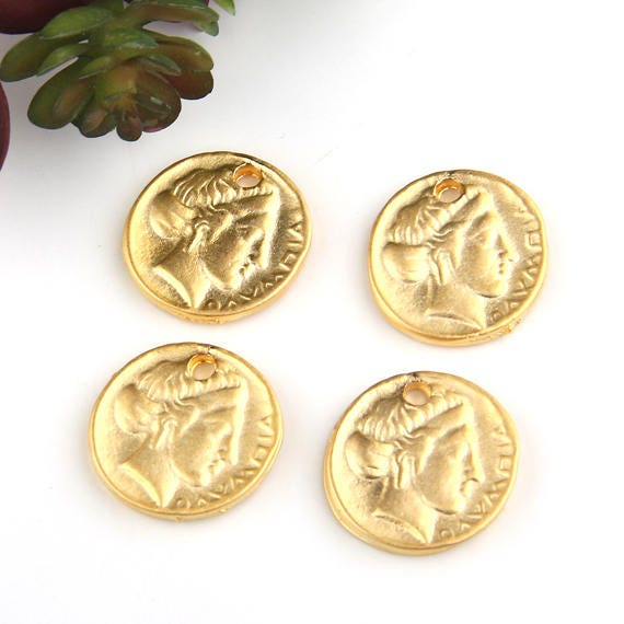 Gold, Replica Ancient Greek Coin Charms, Coin Pendant Charms, 4 pieces //  GCh-265