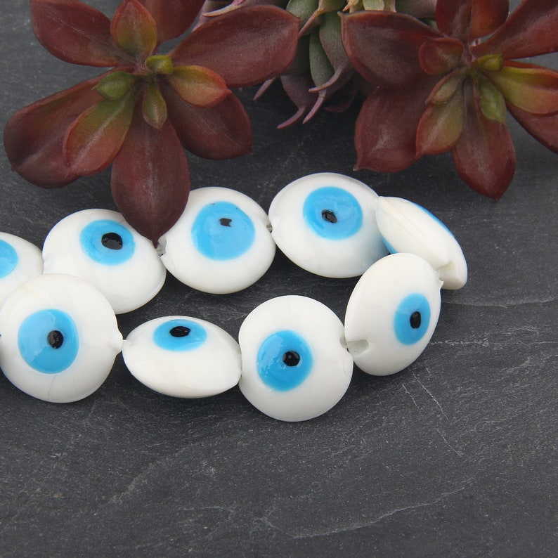 Handmade Glass Turkish Evil Eye Beads 4 pieces  BD-095 White