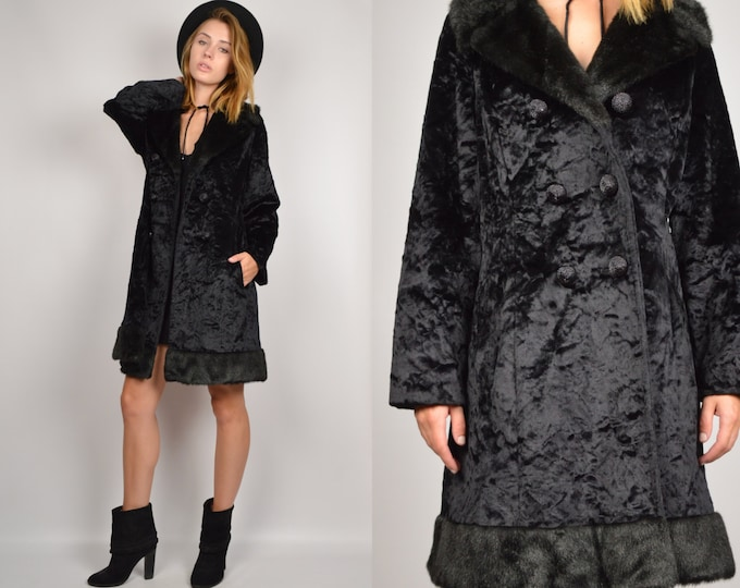 SALE 50's Velvet + Faux Fur Winter Coat Black Vintage