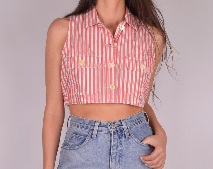Vintage Calvin Klein Cotton Crop Top (S-M)