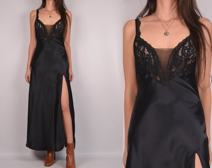 Vintage Black Lingerie Slip Dress w/ Slit