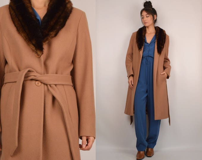 SALE Wool Long Coat Faux Fur Collar Vintage