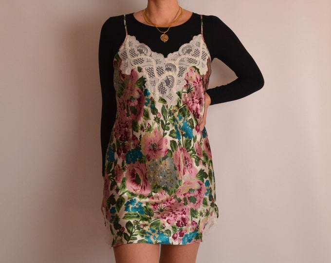 Vintage VS Satin Floral Slip Dress (M-L)